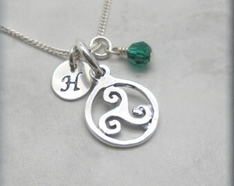 Personalized Triskele Necklace Birthstone Jewelry Irish Jewelry Triskelion Initial Charm Triple Spiral Celtic Knot Sterling Silver (SN970)
