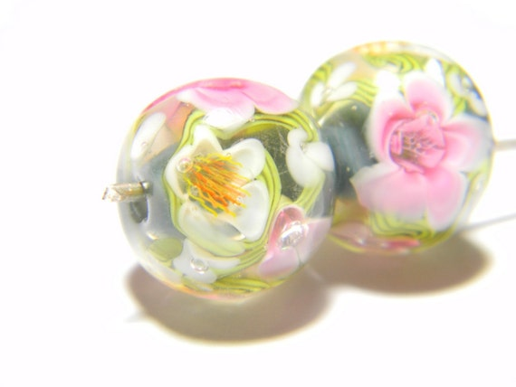 Lampwork Glass Beads - Opal grey, green vines, pink and white flowers bead 15mm - Winter Spells Green Collection