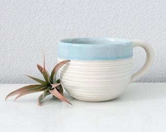 Large Blue Mug Porcelain, Groove Mug in Cerulean Blue, 14 Ounce Pottery Mug