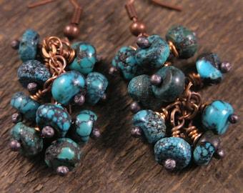 Genuine turquoise stone beads, handmade copper headpins cluster earrings