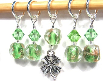 Stitch Markers for Knitting or Crochet, Customizable with Removable Hooks or Rings, Clover Field with Shamrock