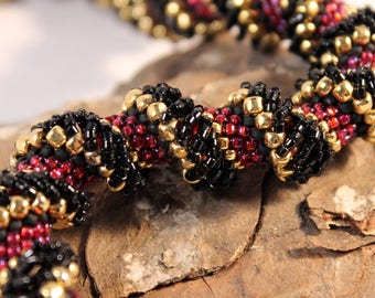 beadwoven spiral necklace, 24K gold red and black twist, elegant evening wear, statement, classic timeless helix, office manager, NL
