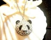 35% OFF Panda Necklace, Vintage Rhinestone Silver Panda Head, 1970 Rhinestone Panda Head, 22 Inch Silver Chain