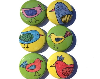 Bird Magnets or Pinback Buttons - Whimsical Bird Lover Gift - Animal Magnet or Pin Set - Bird Fridge Magnets, Stocking Stuffer, Party Favor