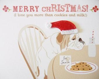 Merry Christmas English Bulldog Felt Appliqué Santa Hat Cookies and Milk Blank Note Card with Envelope