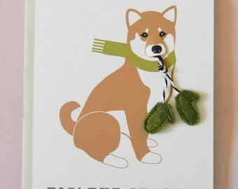 Macky the Shiba Inu Dog Holiday Christmas Scarf Felt Mitten Gloves Blank Note Card with Envelope