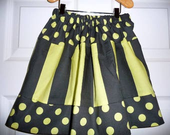 Sample SALE - Will fit Size 3T to 5T - Ready to MAIL - SKIRT -  Charcoal and lime yellow - by Boutique Mia