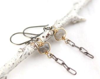 Labradorite Mixed Metal Dangle Earrings