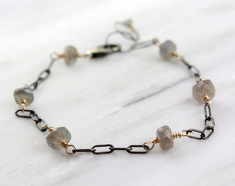 Gold Wrapped Labradorite and Oxidized Silver Chain Bracelet