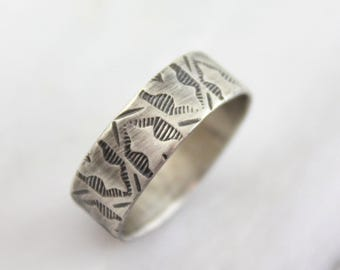 Rustic Native Stamped Silver Band Ring