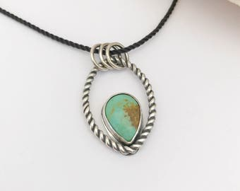 Sterling Silver and Turquoise Pendant, Artisan Silversmith Large Pendant, Green Turquoise Necklace, Weekend Necklace, Bohemian Necklace