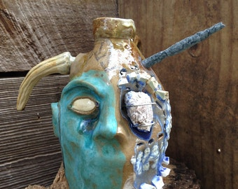 FACE JUG by Joel Patton: turquoise, iron, glass, ash
