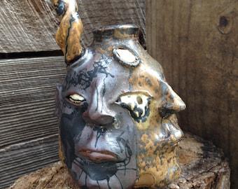 devil double FACE JUG by Joel Patton: rust & ash