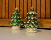 Ceramic Christmas Tree Salt and Pepper Shakers - Lefton - Japan - Royal Hill Vintage