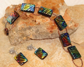 Rainbow Dichroic Bracelet and Earring Set, Animal Print Zebra Glass Fused Glass Bracelet and Earrings, Dichroic Glass Earrings and Bracelet
