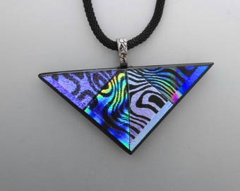 Silver and Purple Zebra Glass Necklace, Stained Glass Look Triangle Pendant,  Animal Print Dichroic Glass Pendant, Dimensional Glass Pendant