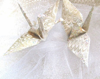 Marbleized Gold Silver Peace Crane Wedding Cake Topper Party Favor Origami Christmas Ornament Paper Place Card Holder Anniversary Bird White