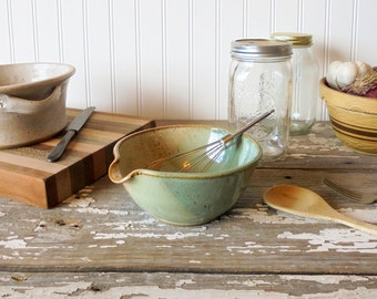 Handmade Pottery Batter Bowl - Pancakes - Waffles - Muffins - Stoneware