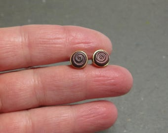 Stud Earrings 8 mm Plum, Copper Spiral Design Hypo Allergenic Simple Post Earrings Gift for Girlfriend