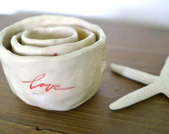 Love - Forever - Hearts, Nested Pinch Pots