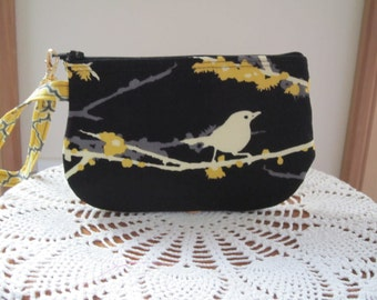 Wedding Clutch Wristlet Zipper Gadget Purse Pouch in Songbirds in Black and Gold