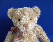 Vintage Gund Teddy Bear Stuffed Animal 1990s Toys Kids Toy Curly Fur Light Brown Classic Teddy Bear Plaid Ribbon