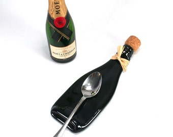 Mini Champagne Bottle Flat Spoon Rest with Cork and Raffia - Dark Amber -  Recycled Eco-Friendly