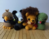 Hogwarts House Animals Amigurumi - Gryffindor Lion, Syltherin Snake, Ravenclaw Eagle, and Hufflepuff Badger Dolls