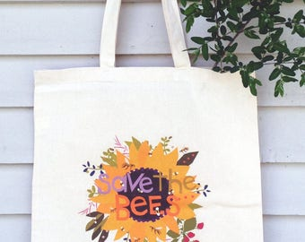 Custom Canvas tote bag Save the bees hand drawn typography with sunflower bees and herbs