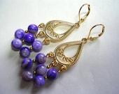 Velvet Purple Chandelier Earrings Gold Chandelier Earrings Mother of Pearl Leverback Hooks
