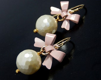 Pearl Bow Earrrings, Vermeil, Pink Shell Earrings, Wedding, Bridesmaid Jewelry