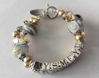 Custom 4 Name Bracelet Mommy Grandma Boutique 2 Strand Lampwork Personalized Children Pets Grandchildren Intials