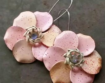 Pale Peachy Pink and  Minty Green Vintage  flowers for your ears from Wendy Baker