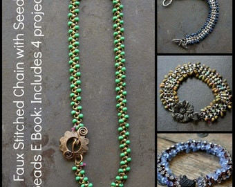 Faux Stitched Chain with Seed Beads Ebook  4 projects