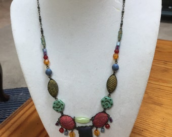 Vintage bohemian style beaded necklace