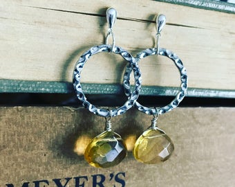 Faceted citrine dew drop earrings