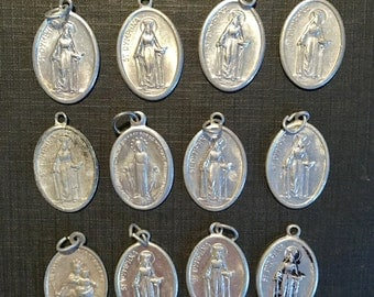 SALE 12 Vintage HOLY Medals Aluminum Virgin Mary Jesus Saints Religious Jewelry SUPPLIES Curiosity Cabinet Pendant Earrings SetB