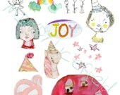 JOY JOY JOY - Mixed media, journaling collage sheets - by Mindy Lacefield