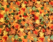 Fall Leaves Cotton Fabric, Fabric By the Yard, Half Yard or Fat Quarter,  Sewing Fabric, Quilting Fabric, Craft Fabric, #166