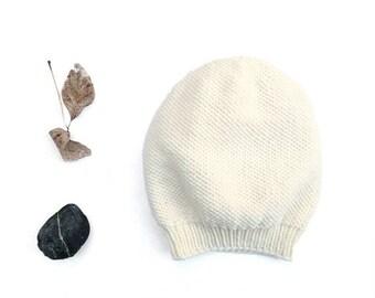 15% OFF SALE: Merino Camila Slouch Hat / Beanie. Men / Women. Porcelain / Cream. Urban Style. Spring / Fall / Winter. Hand Knit in France.