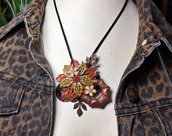 Amber Vintage collage brooch pin copper flower fall hues rhinestone upcycled