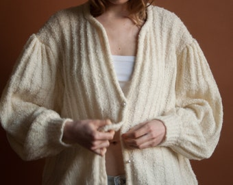 oversized cream knit cardigan sweater / ribbed poet sleeve sweater / puff sleeve sweater / m / l / 2087t /B20