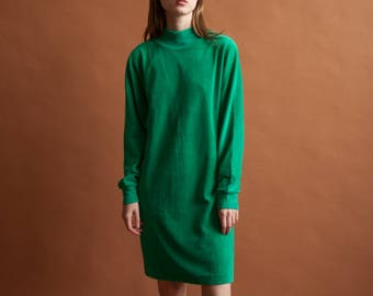 green mock neck velour dress / mock neck mini dress / turtleneck dress / s / m / 2182d / B7