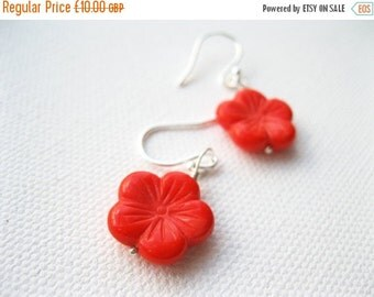 ON SALE Coral Red Cherry Blossom Bead Stirling Silver Earrings UK Seller Stylish Contemporary Handmade Sakura Flower Fashion Kawaii Jeweller