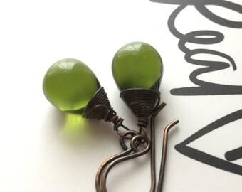 Dark Olive Green Drop Earrings. Green Bead Copper Earrings. Oxidized Copper Earrings. Teardrop Earrings. Briolette Earrings.