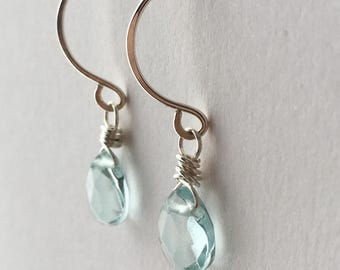 Genuine Aquamarine Earrings. Sterling Silver Earrings. Gemstone Earrings. Briolette Earrings. Aquamarine Drop Earrings. Wedding Earrings. UK