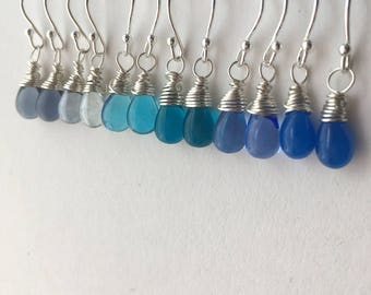 Petite Blue Teardrop Earring Collection. Small Blue Drop Sterling Silver Earrings Set. 6 Pairs of Blue Silver Earrings. UK Seller