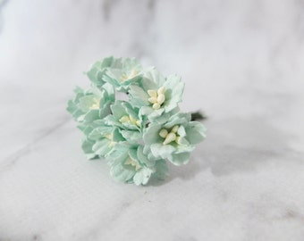10 20mm mint paper cherry blossoms - 2 cm paper flowers with wire stems