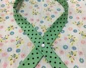 Criss Cross Tie - Mint Green & Black Polka Dots