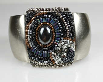 Beaded Cuff - Embroidered Bracelet with Hematite and Swarovski Crystals